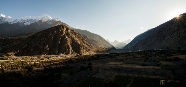 Annapurna area, small town between Marpha and Jomsom-- close to sunset