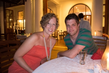 Corinne and Jared at dinner